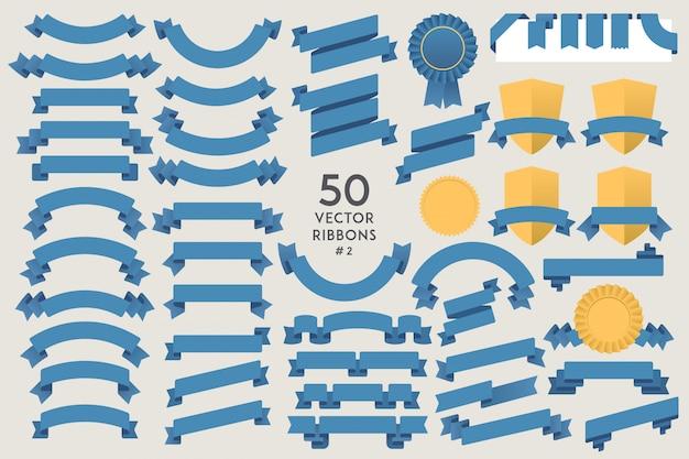 Zestaw 50 wstążek wektorowych. kolekcja elementów płaskich