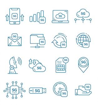 Zestaw 5g ikon internetowych w stylu konspektu