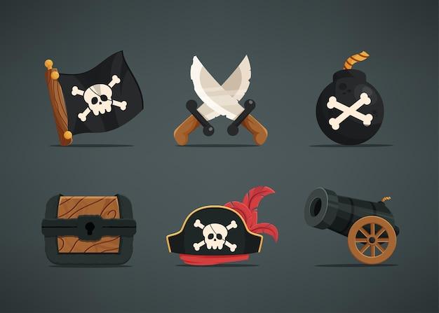 Zestaw 6 elementów aktywów dla postaci piratów, takich jak flagi pirackie, podwójne miecze, granaty, skrzynie ze skarbami, czapki pirackie, armaty.
