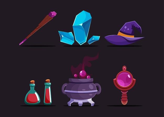 Zestaw 6 przedmiotów dla postaci wiedźmy, takich jak magiczny kostur, magiczne klejnoty, kapelusz wiedźmy, trucizna, kocioł, kula.