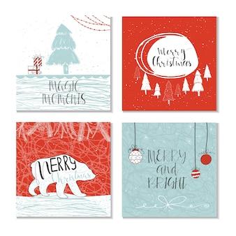 Zestaw 6 uroczych kart podarunkowych z cytatem wesołych świąt