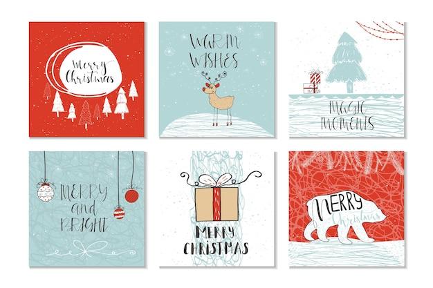 Zestaw 6 uroczych świątecznych kart podarunkowych z cytatem wesołych świąt, wesołych i jasnych, ciepłych życzeń, magicznych chwil. łatwy do edycji szablon. wektor.
