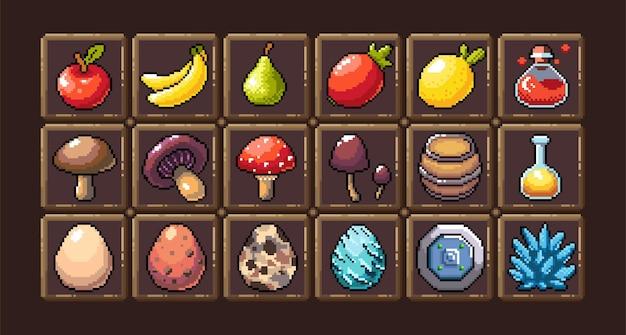 Zestaw 8-bitowych ikon graficznych pikseli ilustracja na białym tle wektor owoce eliksiry mikstury grzyby