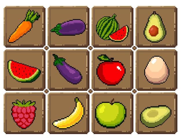 Zestaw 8-bitowych Ikon Graficznych Pikseli Ilustracja Na Białym Tle Wektor Owoce Eliksiry Mikstury Grzyby Premium Wektorów