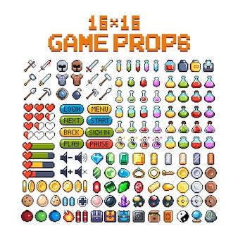 Zestaw 8-bitowych ikon graficznych pikseli ilustracja na białym tle wektor sztuka gry broń biżuteria mikstury