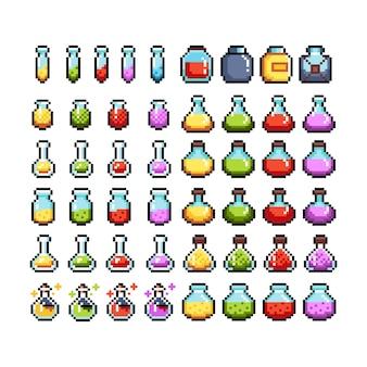 Zestaw 8-bitowych ikon graficznych pikseli. ilustracja na białym tle wektor. sztuka gry. mikstury, eliksiry.
