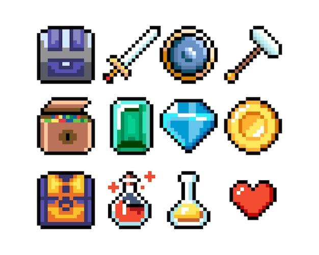 Zestaw 8-bitowych ikon graficznych pikseliizolowana ilustracja wektorowagry mikstury broni kosztowności