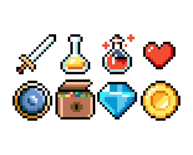 Zestaw 8-bitowych ikon grafiki pikselowej ilustracja na białym tle wektor sztuka gry broń biżuteria mikstury