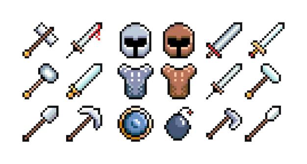 Zestaw 8-bitowych ikon grafiki pikselowej ilustracja na białym tle wektor sztuka gry broń tarcza hełmu