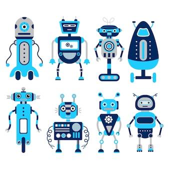 Zestaw 8 kolorowych robotów na białym tle.