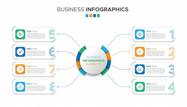 Zestaw 8-stopniowych elementów infografiki biznesowej o kolorowych kształtach