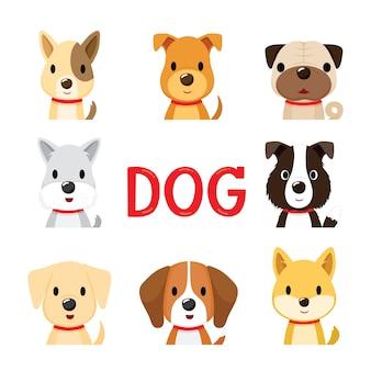 Zestaw 8 Twarzy Psów, Zwierzę, Zwierzak, Rok Psa Premium Wektorów