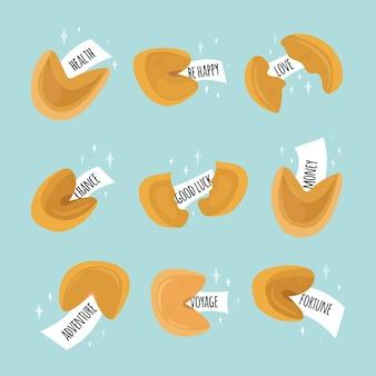Zestaw 9 chińskich ciasteczek z wróżbą. wyrażenie miłość, szczęście, przygoda. obiekty na niebieskim tle są izolowane. słodkie ciasteczka z papierowymi notatkami w środku. ilustracja wektorowa. styl kreskówki