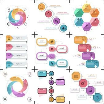 Zestaw 9 płaskich minimalne szablony infographic