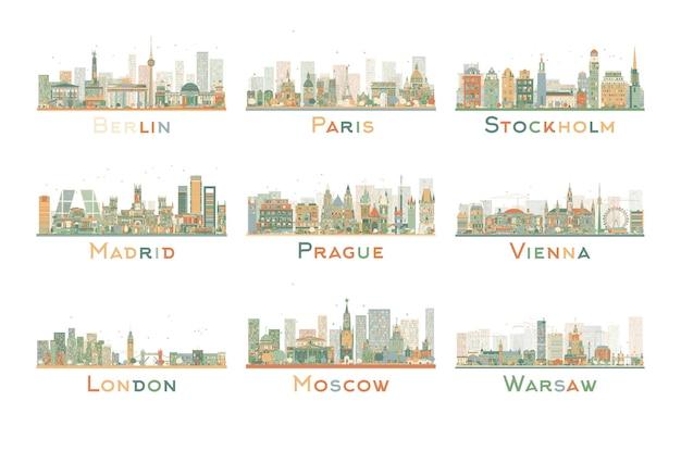Zestaw 9 streszczenie panoramę miasta europy. ilustracja. skyline z zabytkami świata. podróże służbowe i koncepcja turystyki. obraz do prezentacji, baneru, afisz i strony internetowej.