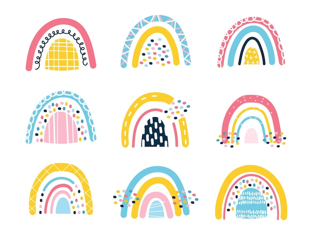 Zestaw 9 uroczych dziecięcych tęczy w stylu skandynawskim. streszczenie jasne elementy. zaprojektuj szablon naklejek, nadruk na koszulki dziecięce, biżuterię, zeszyty. ilustracja wektorowa, ręcznie rysowane