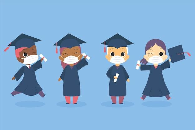 Zestaw absolwentów noszących maski na twarz