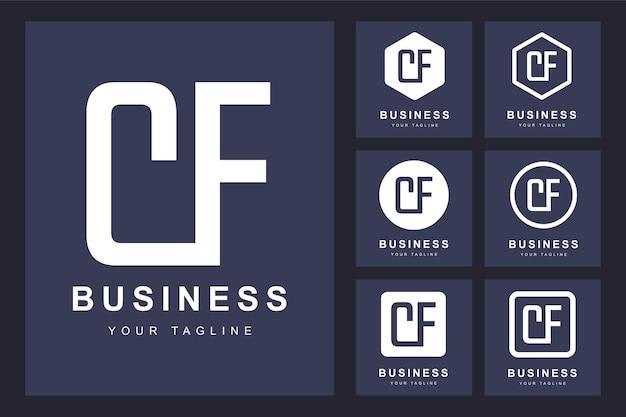 Zestaw abstrakcyjna pierwsza litera cf, szablon logo.