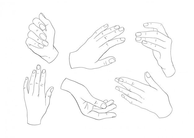 Zestaw abstrakcyjna ręka grafika liniowa