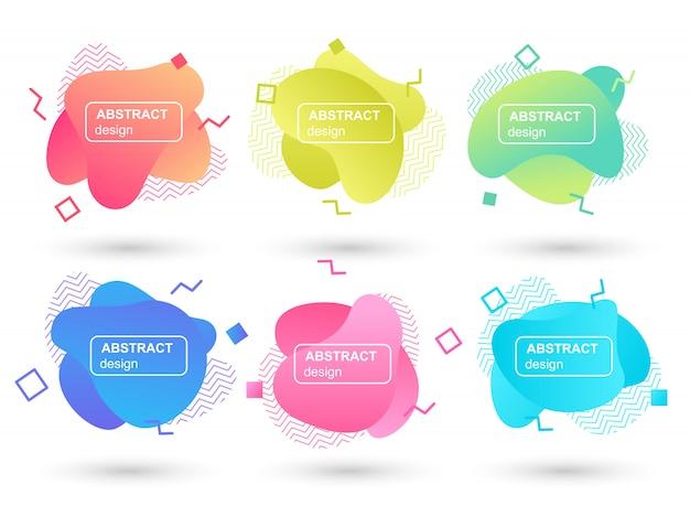 Zestaw abstrakcyjne cieczy kształtuje nowoczesne elementy graficzne