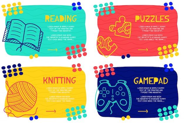 Zestaw abstrakcyjne doodle czytania