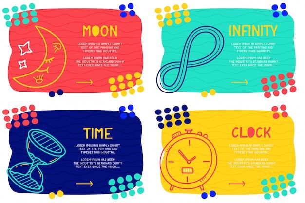 Zestaw abstrakcyjne doodle księżyc