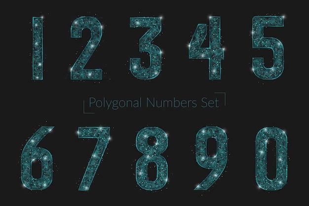 Zestaw abstrakcyjne liczby wielokątne wyglądające jak gwiazdy w blasku nocnego nieba w spase lub latające szklane odłamki. cyfrowy projekt strony internetowej, sieci, internetu