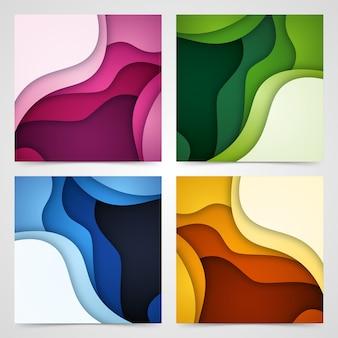 Zestaw abstrakcyjne tło i kształty cięcia papieru