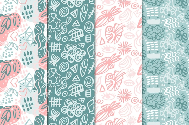 Zestaw abstrakcyjne wzory narysowane