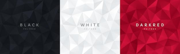 Zestaw abstrakcyjnego 3d czarno-białego i ciemnoczerwonego geometrycznego wielokątnego wzoru tła z miejscem na kopię
