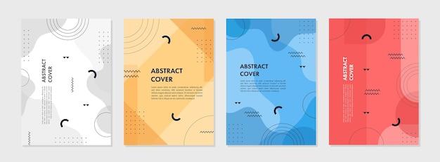 Zestaw abstrakcyjnego kreatywnego szablonu geometrycznego do projektowania okładki