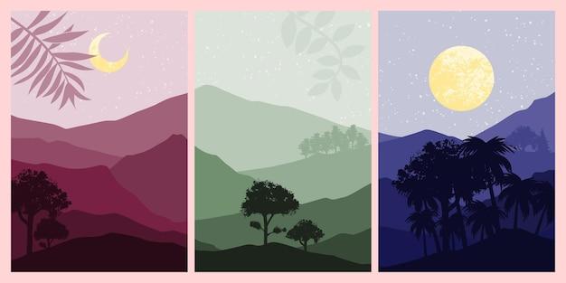 Zestaw abstrakcyjnego malarstwa górskiego. streszczenie sztuka tło. wektory premium