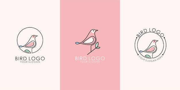 Zestaw abstrakcyjnego minimalistycznego połączenia natury ptaków i liści z szablonem logo stylu sztuki linii. wektor premium