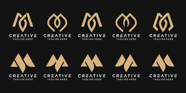 Zestaw abstrakcyjnego monogramu początkowego szablonu logo m.