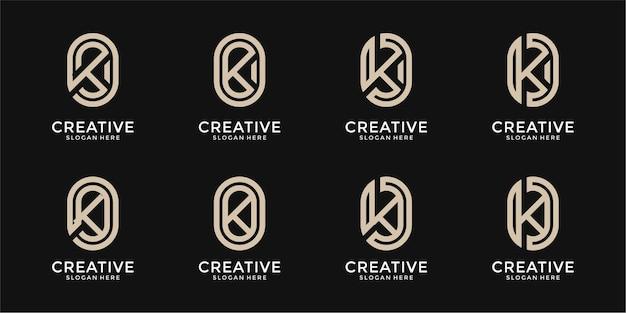 Zestaw abstrakcyjnego monogramu początkowej litery k logo szablon projektu