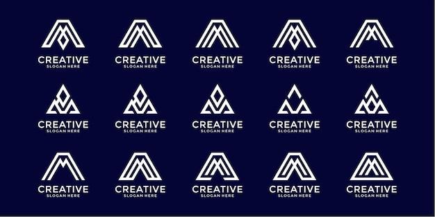 Zestaw abstrakcyjnego monogramu początkowej litery m szablon projektu logo