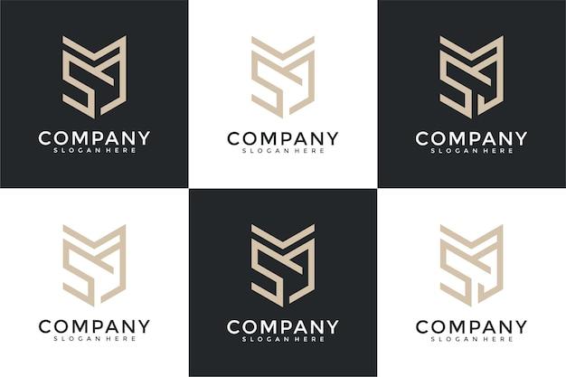 Zestaw abstrakcyjnego monogramu początkowej litery ms logo szablon projektu