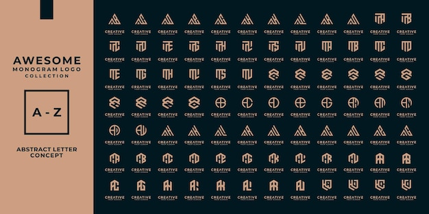 Zestaw abstrakcyjnego początkowego projektu logo az.monogram, ikon dla biznesu luksusu, elegancji i losowości.