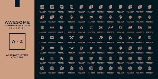 Zestaw Abstrakcyjnego Początkowego Projektu Logo Az.monogram, Ikon Dla Biznesu Luksusu, Elegancji I Losowości. Premium Wektorów