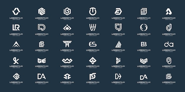 Zestaw abstrakcyjnego początkowego projektu logo az.monogram, ikony dla biznesu luksusu, eleganckiego i przypadkowego.