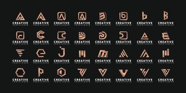 Zestaw abstrakcyjnego początkowego projektu logo az.monogram, ikony dla biznesu luksusu
