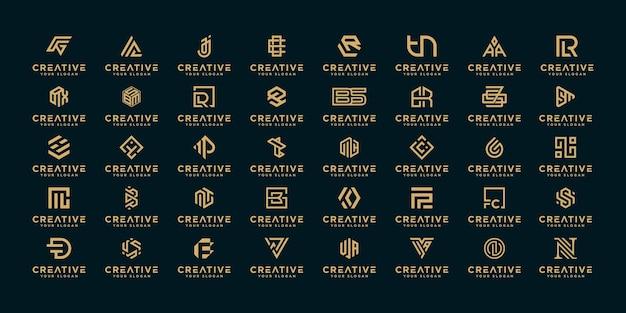 Zestaw abstrakcyjnego początkowego projektu logo az.monogram