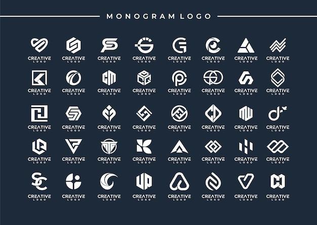 Zestaw abstrakcyjnego początkowego projektu logo monogram az