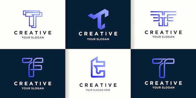 Zestaw abstrakcyjnego projektu logo kreatywnej litery t