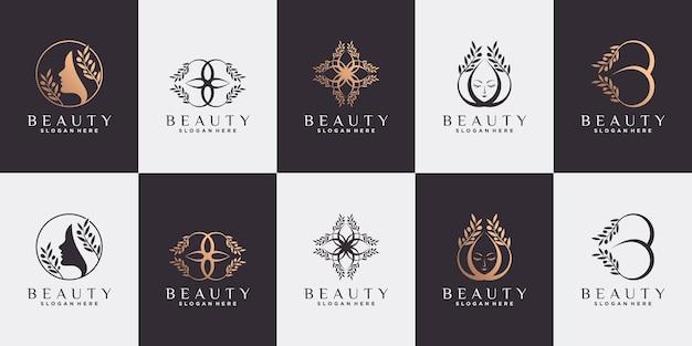 Zestaw abstrakcyjnego projektu logo piękna z drzewem oliwnym w stylu sztuki linii