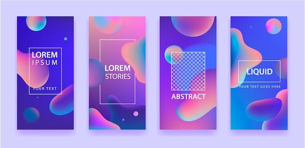 Zestaw abstrakcyjnego szablonu aplikacji mobilnej o płynnych kształtach