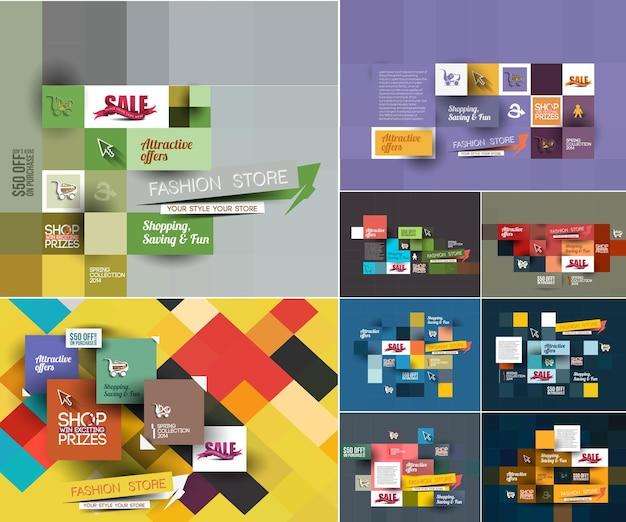 Zestaw abstrakcyjnego szablonu plakatu sprzedaży mody do użytku reklamowego
