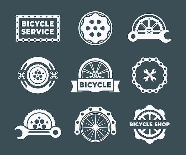 Zestaw abstrakcyjnego szablonu projektu logo roweru