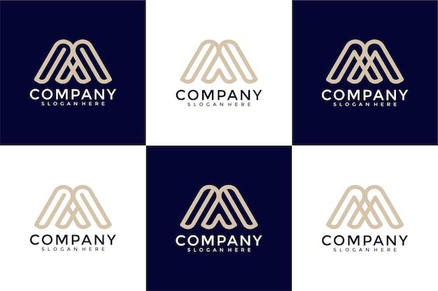 Zestaw abstrakcyjnej litery początkowej m i szablon projektu logo