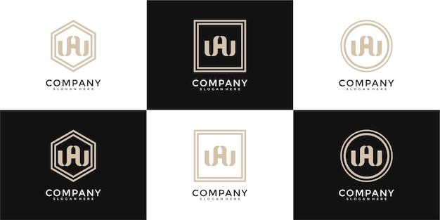 Zestaw abstrakcyjnej litery początkowej w i szablon logo